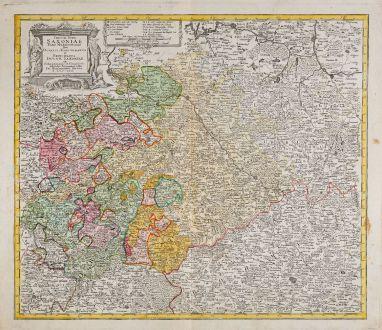 Antike Landkarten, Homann Erben, Deutschland, Sachsen, 1750: Circuli Supe. Saxoniae Pars Meridionalis sive Ducatus, Electoratus et Principatus Ducum Saxoniae