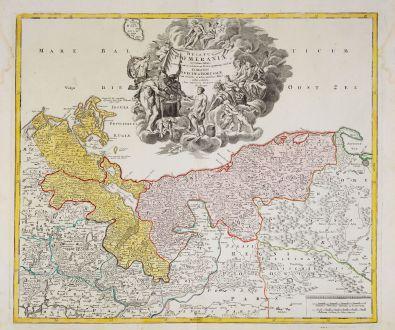 Antique Maps, Homann, Poland, Mecklenburg-Vorpommern, Pomerania, 1720: Ducatus Pomeraniae Novissima Tabula in Anteriorem et Interiorem Divisa, quatenus susunt Coronis Sueciae et Borussiae