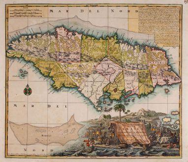 Antique Maps, Seutter, Central America - Caribbean, Jamaica, 1730: Nova Designatio Insulae Jamaicae ex Antillanis Americae Septentrion