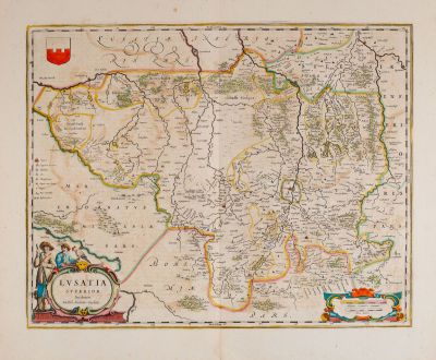 Antike Landkarten, Blaeu, Deutschland, Sachsen, Oberlausitz, 1663: Lusatia Superior Authore Barthol. Sculteto Gorlitio.