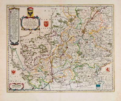 Antike Landkarten, Blaeu, Polen, Breslau, Wroclaw, Schlesien, Niederschlesien: Silesia Inferior
