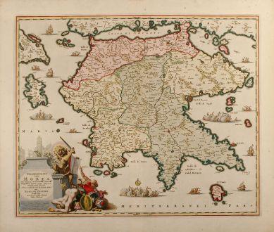 Antike Landkarten, Visscher, Griechenland, Peloponnese, 1690: Peloponnesus hodie Morea deo favente, et victoriosiss serenissae. Reipublicae Venetae armis plurimé christianitati subacta,...