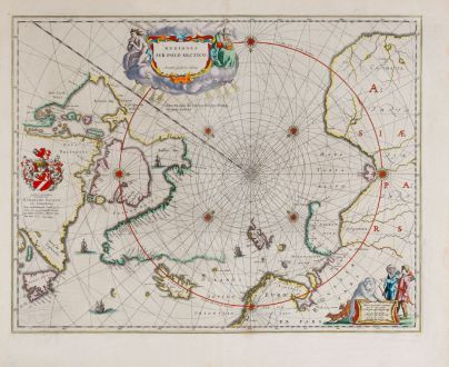 Antique Maps, Blaeu, North Pole, 1643-50: Regiones Sub Polo Arctico