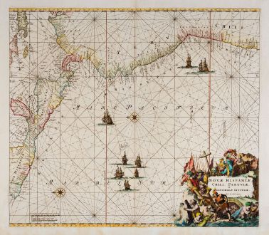 Antike Landkarten, Ottens, Pazifik, 1745: Novae Hispaniae, Chili, Peruviae, et Guatimalae Littorae
