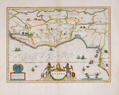 Antique Maps, Blaeu, West Africa, 1642-43: Guinea