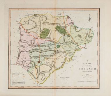 Antique Maps, Smith, British Islands, England, Rutland, 1808: A New Map of the County of Rutland divided into Hundreds