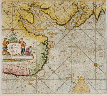 Antike Landkarten, van Keulen, Britische Inseln, England, Nordsee, Lincolnshire, Norfolk: Pas-Caert vande Zee-Custen van Engeland van Orfordnes tot aen Flamborger Hoof