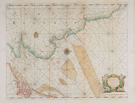 Antique Maps, Collins, England, North Sea, 1693-1792: To the Honourable Sir Ralph Delavalk Vice Admirall of the Red...
