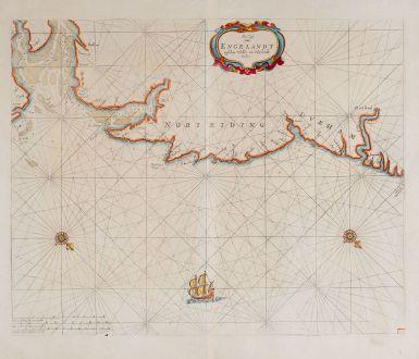 Antike Landkarten, Goos, Britische Inseln, England, Nordsee, Yorkshire, Norfolk: De Cust van Engelandt tuschen Welles en t'Eylandt Coket