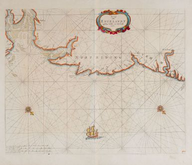 Antique Maps, Goos, England, North Sea, Yorkshire, Norfolk, 1676: De Cust van Engelandt tuschen Welles en t'Eylandt Coket
