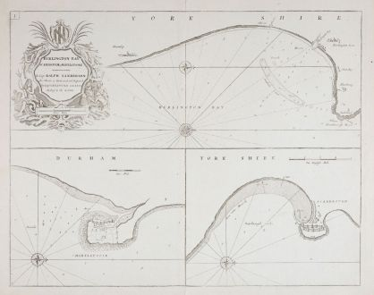 Antike Landkarten, Collins, Britische Inseln, England, Yorkshire, Durham: Burlington Bay, Scarbrough & Hartlepoole