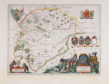 Antike Landkarten, Blaeu, Britische Inseln, England, Rutland, 1658-62: Rutlandia Comitatus. Rutlandshire.
