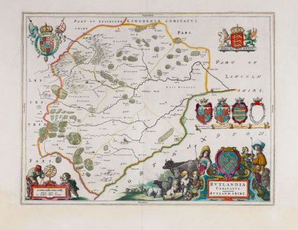 Antique Maps, Blaeu, British Islands, England, Rutland, 1658-62: Rutlandia Comitatus. Rutlandshire.