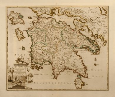 Antique Maps, van der Aa, Greece, Peloponnese, 1713: La Morée, autrefois le Peloponnese, avec toutes ses Iles, dressée par les plus exacts geographes et nouvellement publiée...