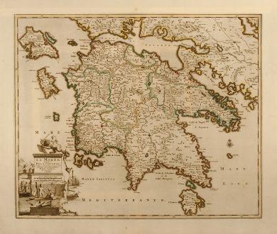 Antike Landkarten, van der Aa, Griechenland, Peloponnese, 1713: La Morée, autrefois le Peloponnese, avec toutes ses Iles, dressée par les plus exacts geographes et nouvellement publiée...