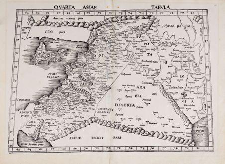 Antike Landkarten, Waldseemüller, Heiliges Land, 1513: Quarta Asiae Tabula