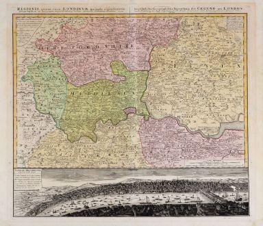 Antike Landkarten, Homann Erben, Britische Inseln, England, London, 1741: Regionis quae est circa Londinum ... / Ausfuhrliche Geographische Vorstellung der Gegend um London ...