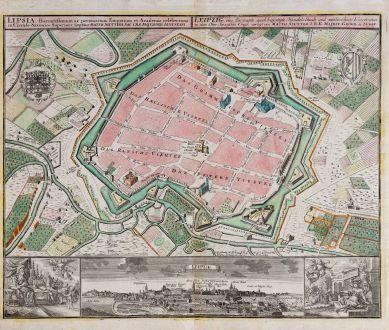 Antike Landkarten, Seutter, Deutschland, Sachsen, Leipzig, 1730: Lipsia ... - Leipzig, eine florisante, auch befestigte Handels- Stadt und weitberühmte Universitaet in dem Ober-Saexischen...