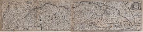 Antike Landkarten, Hondius, Deutschland, Donaulauf, 1635: Maximi Totius Europae Fluminis Danubii Cursus per Germaniam Hungariamque Nova Delineatio