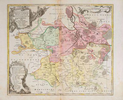 Antike Landkarten, Seutter, Deutschland, Sachsen-Anhalt, Bitterfeld, 1730: Despriptio Geographica Praefecturarum Doelitsch, Bitterfeld, Zoerbig