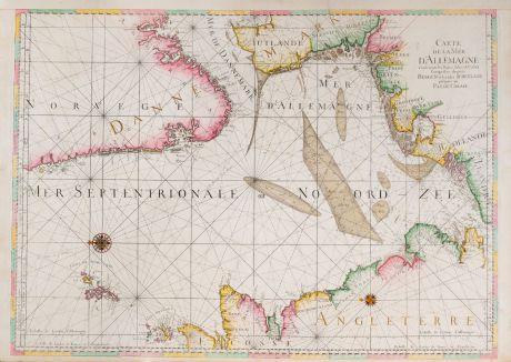 Antike Landkarten, Covens and Mortier, Atlantik, Nordsee, 1700: Carte de la Mer d'Allemagne ... depuis Bergen et les Isles Schetland jusques au Pas de Calais