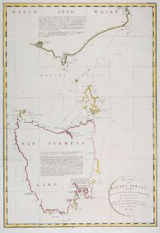 Antike Landkarten, Flinders, Pazifik, Australien, 1801: Kaart van Basses Straat, tusschen Nieuw Zuid Wales en Van Diemens-Land ... Heer Flinders ... 1798-1799