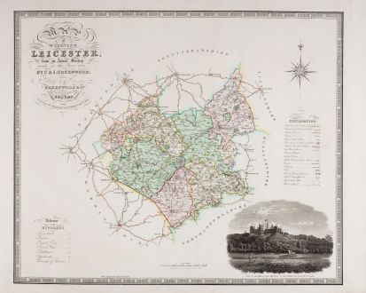 Antique Maps, Greenwood, British Isles, England, Leicestershire, 1834: Map of the County of Leicester from an Actual Survey made in the Year of 1825 by C & I. Greenwood.