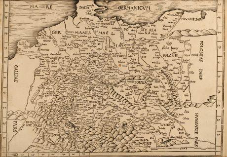 Antike Landkarten, Waldseemüller, Deutschland, 1513 oder 1520: Tabula Moderna Germanie