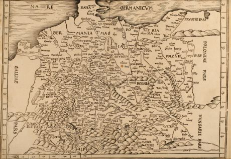 Antique Maps, Waldseemüller, Germany, 1513 or 1520: Tabula Moderna Germanie