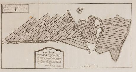 Antique Maps, Anonymous, Netherlands, Amsterdam, 1669: Kaart der landeryen, gelegen aan of onder de rooyinge der Honderd Gaarden