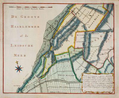 Antique Maps, Anonymous, Netherlands, Amsterdam, 1766: Kaart van de doorgespoelde en afgesleeten Meers Oever in 't West Einde van Aalsmeer