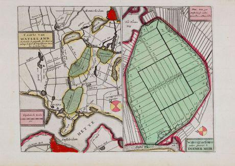 Antique Maps, Anonymous, Netherlands, Amsterdam, Watergraefsmeer, Waterland: Caarte van Waterland & Watergraefsmeer... Diemer Meer