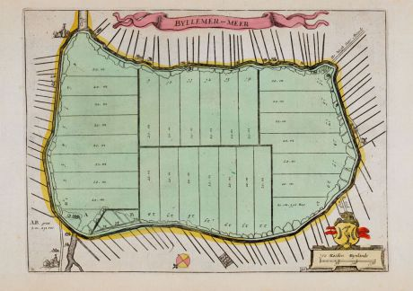 Antique Maps, Anonymous, Netherlands, Amsterdam, Bijlmermeer, 1660: Byllemer-Meer