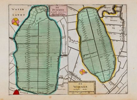 Antique Maps, Anonymous, Netherlands, Amsterdam, Purmer, Wormer, 1660: De Purmer / de Wormer