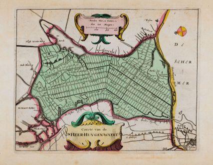 Antike Landkarten, Anonymous, Niederlande, Amsterdam, Heerhugowaard, 1660: Caerte van de Heer-Huygen-Waert