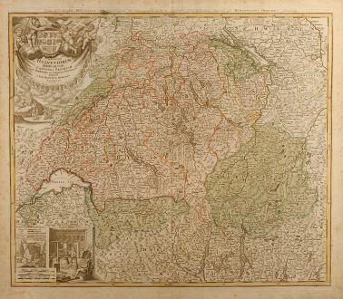 Antike Landkarten, Homann, Schweiz, Schweiz, 1732: Potentissimae Helvetiorum Reipublicae Cantones Tredecim cum Foederatis et Subjectis Provinciis