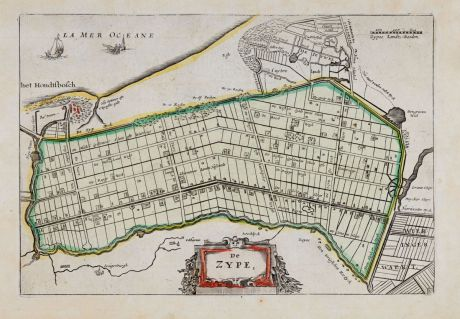Antike Landkarten, Anonymous, Niederlande, Noord-Holland, Schagen, Zijpe, 1660: De Zype