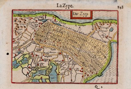 Antique Maps, Anonymous, Netherlands, Noord-Holland, Zijpe, 1660: La Zype - Die Zyp