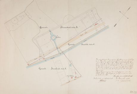 Antike Landkarten, Anonymous, Niederlande, Haarlem, 1846: [Manuscript Plan Leidsevaart]