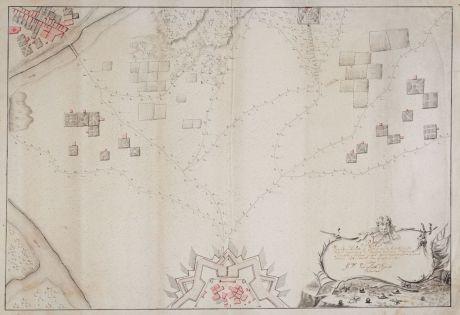 Antike Landkarten, Anonymous, Benelux, Militär, 1777: Plan Van Een Halve 6 Hoek na de Constructie Van de marchal de Vauban met een Wilkeurige Situatie...
