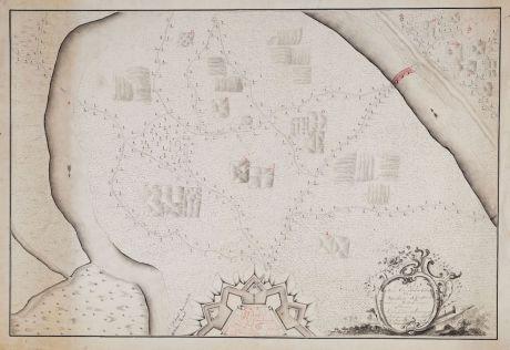 Antike Landkarten, Anonymous, Benelux, Militär, 1776: Plan Van Een Halve 6 Hoek na de Constructie Van de marchal de Vauban met een Wilkeurige Situatie...