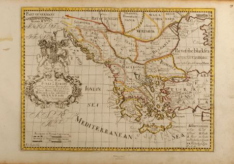 Antike Landkarten, Wells, Griechenland, Türkei, Balkan, 1700: A New Map of Turky in Europe and parts adjoyning shewing their principal divisions and chiefe cities, towns, rivers,...
