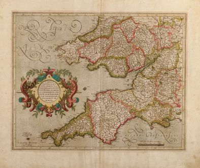 Antique Maps, Mercator, British Islands, South West England, South Wales: Cornubia, Devonia, Somersetus, Dorcestria, Wiltonia, Glocestria Monumetha, Glamorgan, Caermarden, Penbrok, Cardigan, Radnor,...