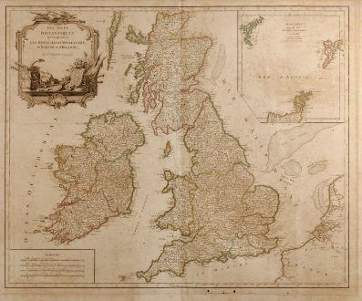 Antike Landkarten, Robert de Vaugondy, Britische Inseln, 1754: Les Isles Britanniques qui Comprennent les Royaumes d'Angleterre, d'Ecosse et d'Irlande