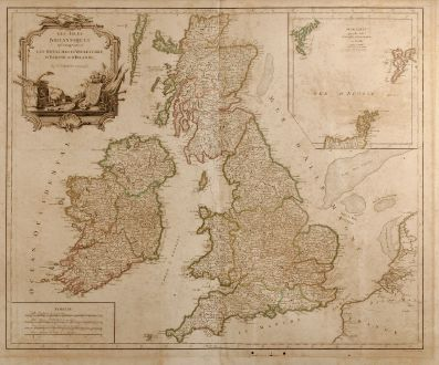 Antique Maps, Robert de Vaugondy, British Isles, 1754: Les Isles Britanniques qui Comprennent les Royaumes d'Angleterre, d'Ecosse et d'Irlande
