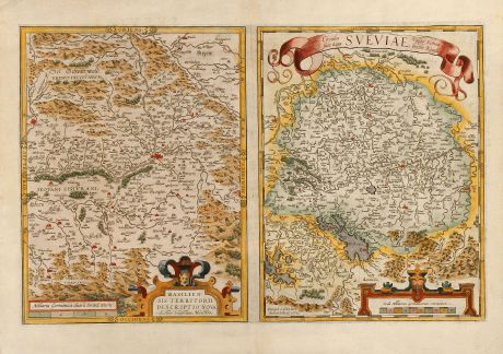 Antique Maps, Ortelius, Germany, Switzerland, Basel, 1573: Basiliensis Territorii Descriptio Nova, Auctore Sebastiano Munstero / Circulus sive Liga Sueviae, vulgo Schwabische Kraiss