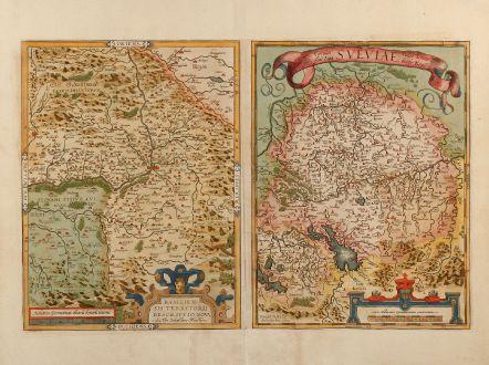 Antique Maps, Ortelius, Germany, Switzerland, Basel, 1578: Basiliensis Territorii Descriptio Nova, Auctore Sebastiano Munstero / Circulus sive Liga Sueviae, vulgo Schwabische Kraiss