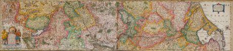 Antike Landkarten, Hondius, Deutschland, Rheinlauf, 1630: Totius Rheni, ab eius Capitibus ad Oceanu usque Germanicum in quem se Exonerat Novißima Descriptio