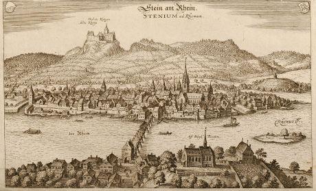 Antike Landkarten, Merian, Schweiz, Stein am Rhein, 1645: Stein am Rhein - Stenium ad Rhenum