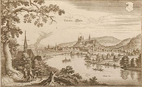 Antike Landkarten, Merian, Schweiz, Thun, 1645: Thuna. Thun.